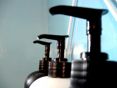 empty shampoo bottles