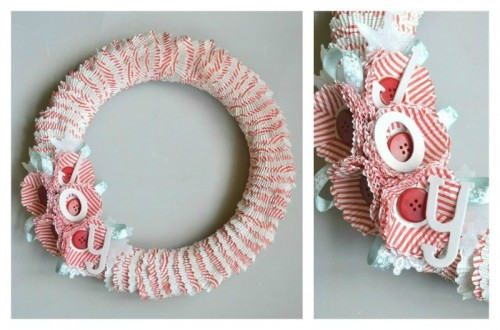 Cupcake Wrapper Wreath, craft tutorial, moms, kids