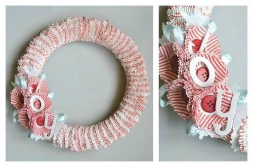 Diy cupcake wrapper wreath tutorial - Creative craft work from home ...