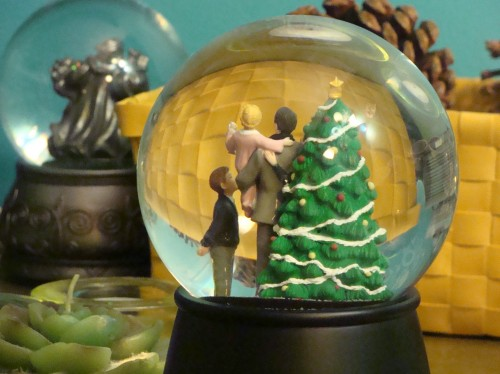 Christmas tree snow globe, family, holiday traditions