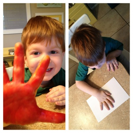 preschool handprint painting craft, thanksgiving, fall leaves
