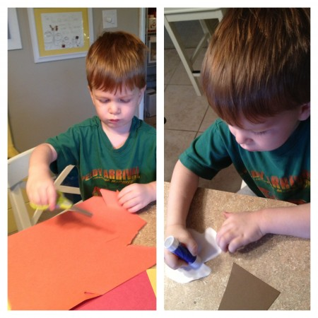 preschool craft cutting fall leaves