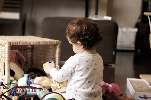 toddler playing independently