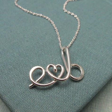 two lovers initial necklace, personalized necklace, Etsy, gift