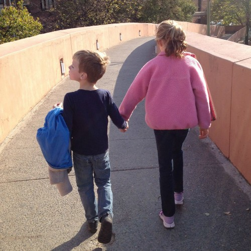 kids walking hand in hand, brother and sister