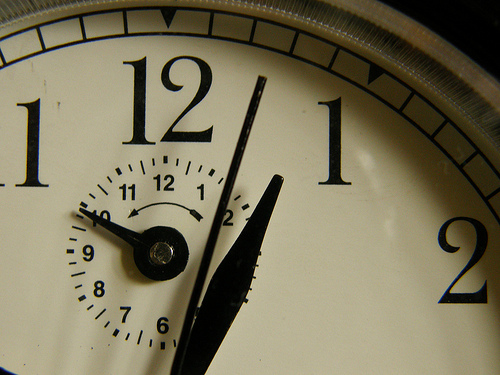 time flies, clock hands close-up