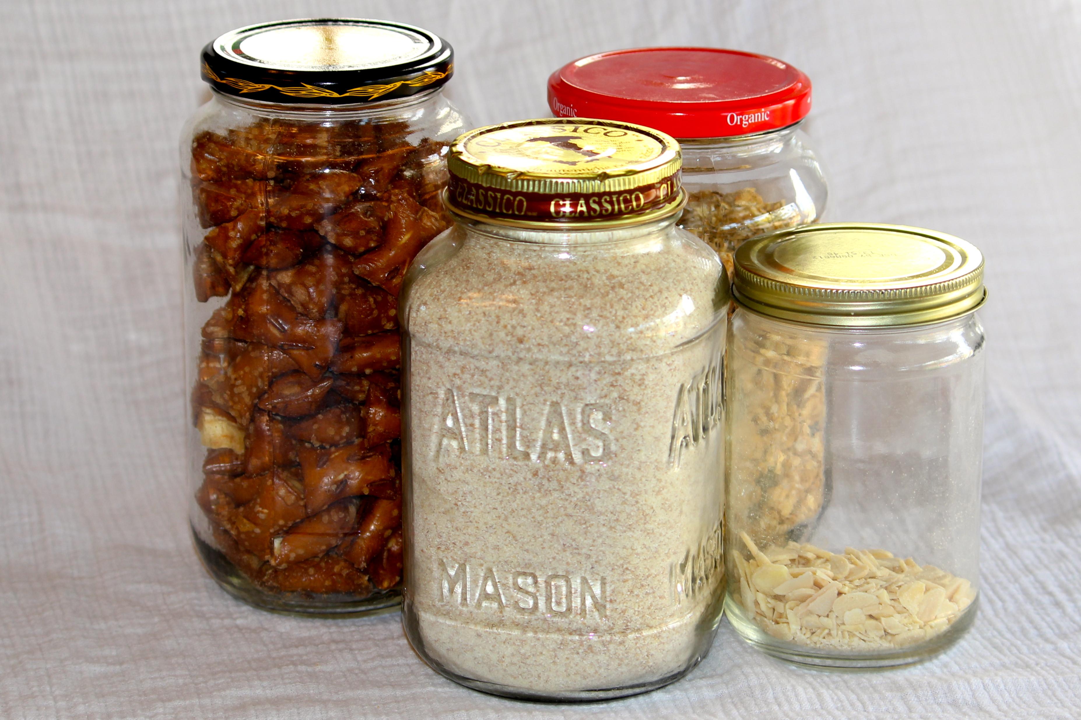 reuse glass jars as pantry storage