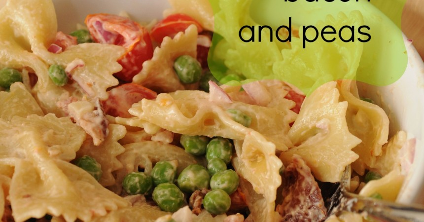 Pasta Salad with peas and bacon at The Happiest Home