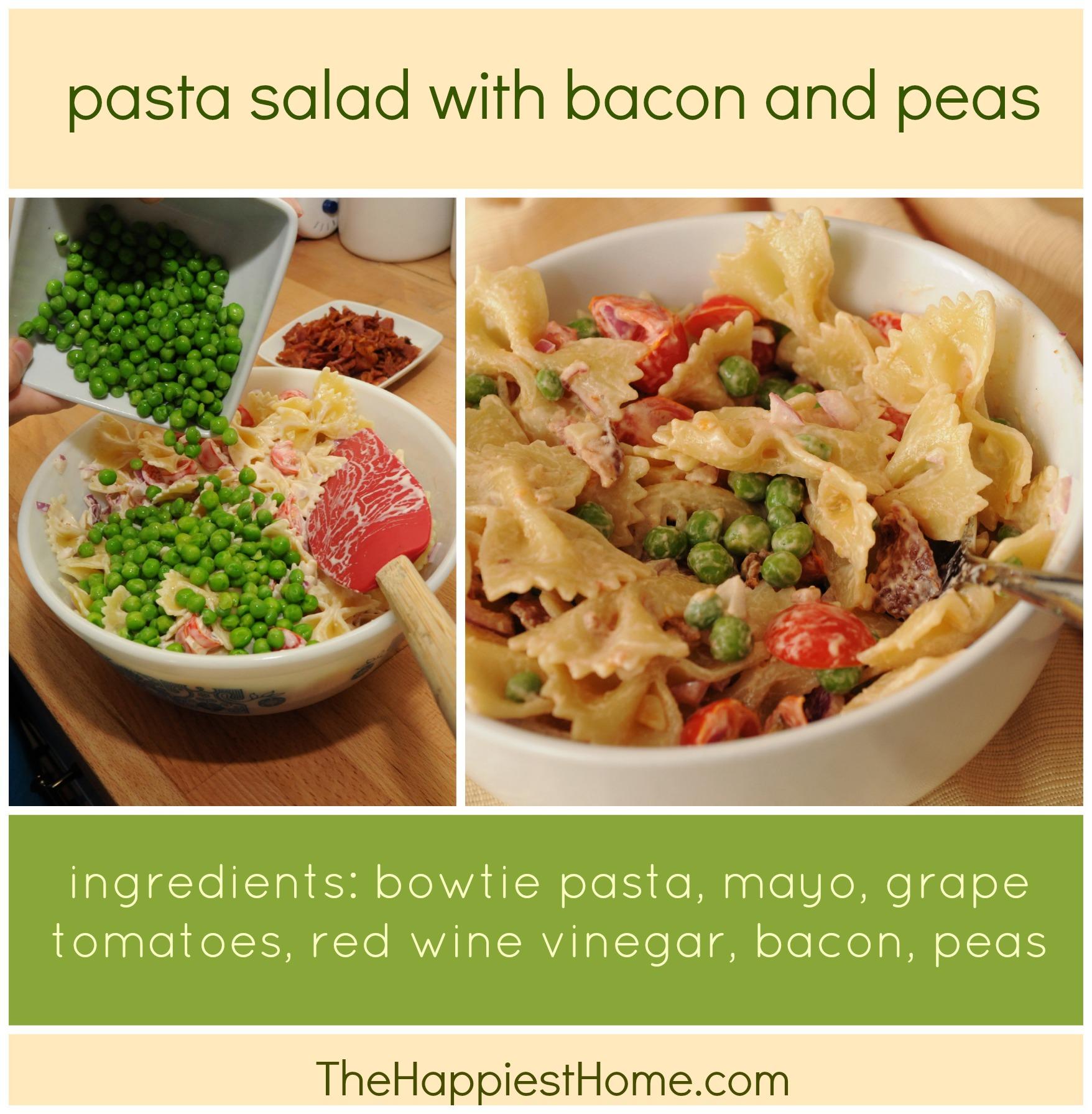 Pasta recipe bacon peas