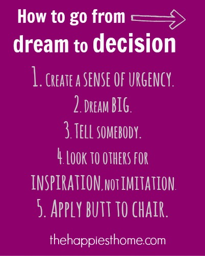 how to go from dream to decision