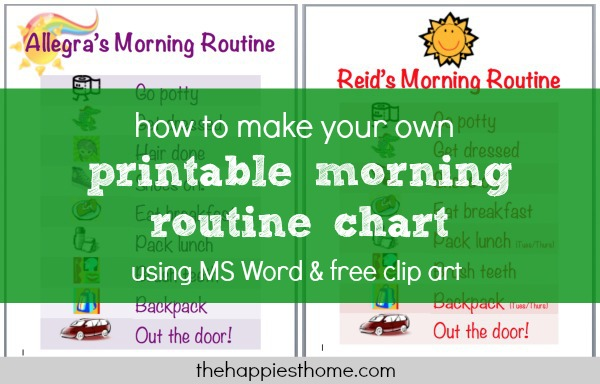 how to make printable morning routine chart