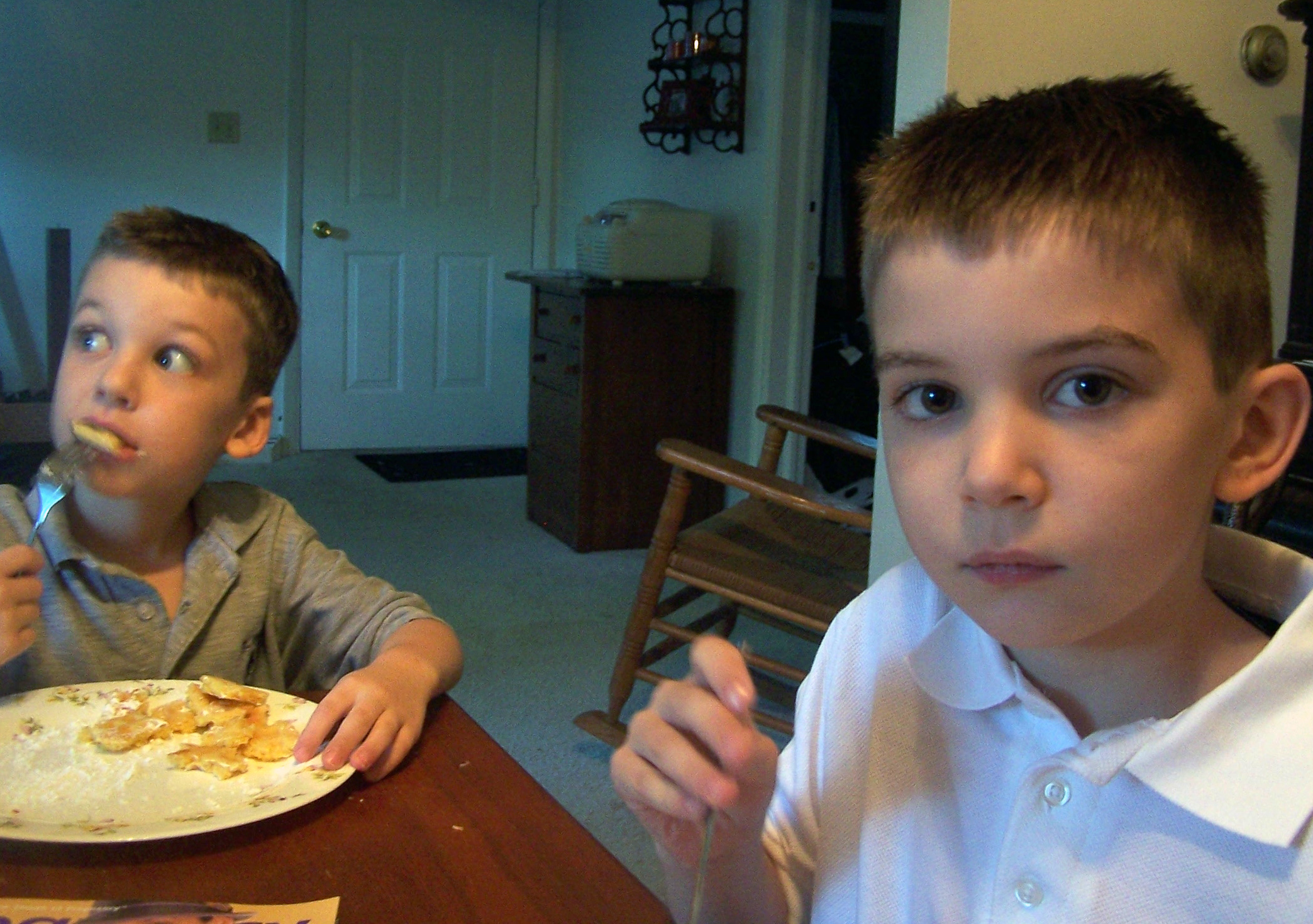 boys eating breakfast, back to school, anxiety