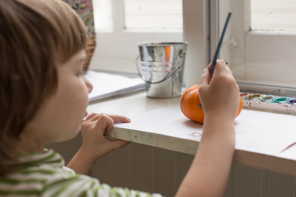 Halloween tip: paint pumpkins with watercolors, wash off and start over.