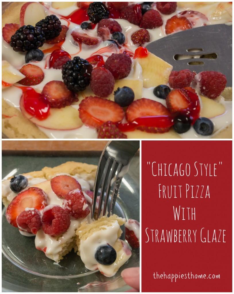 chicago style fruit pizza with strawberry glaze
