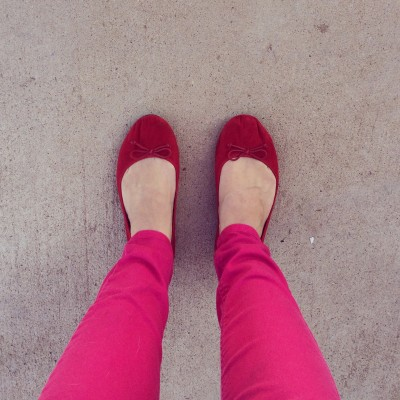 red shoes with pink pants