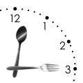 Clock made of spoon and fork, isolated on white background