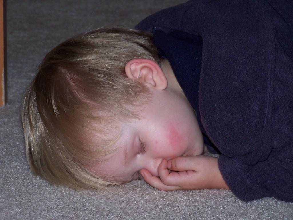 william asleep on floor