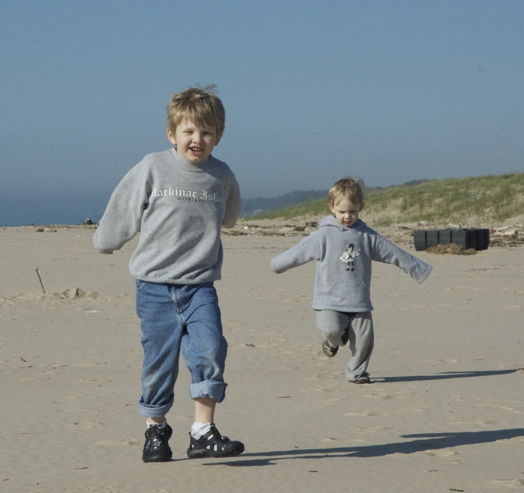 One of my favorite old pictures of William and Owen on a springtime trip to Lake Michigan.