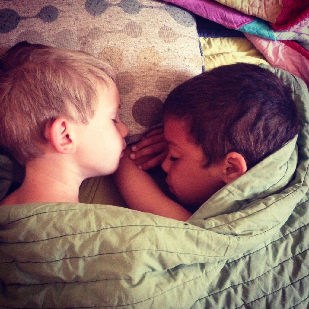 Owen and his cousin Quin having a sleepover last summer