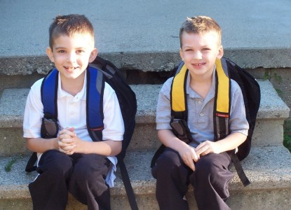 Jacob and Isaac on their first day of 2nd grade and kindy. They both tower over me now.