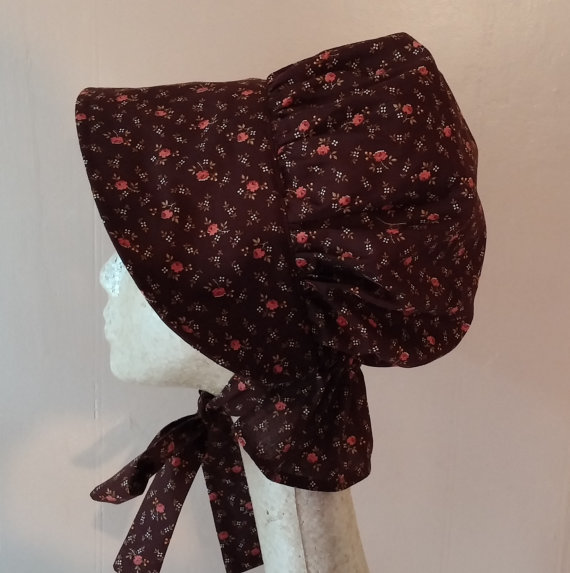 brown calico pioneer bonnet