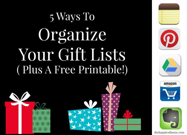 gift list, holiday, printable